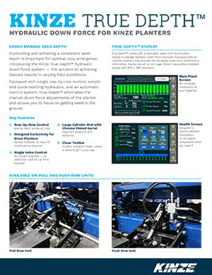 Kinze True-Depth hydraulic downforce